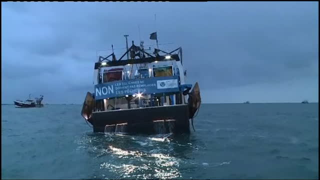french fishing boats taking part in protest outside jersey's largest port in a post brexit dispute over access to the island's waters - leisure activity stock videos & royalty-free footage
