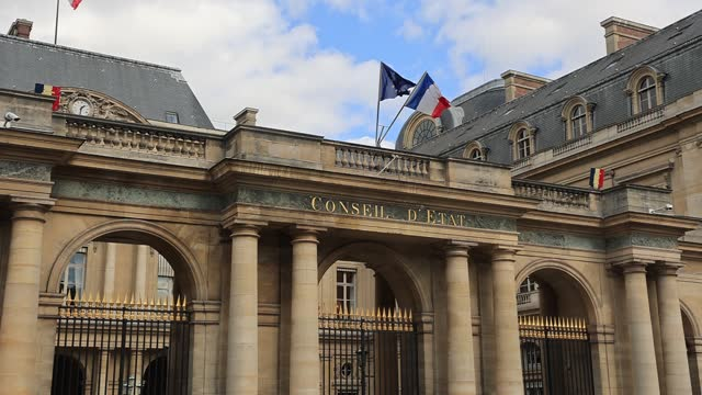 french flag and european flag wave on the facade of the french state council on march 26, 2021 in paris, france. art galleries have filed an appeal... - politics illustration stock videos & royalty-free footage