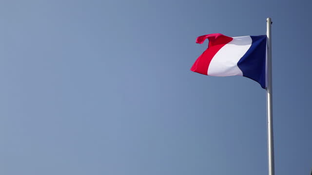 french flag - blue sky - french flag stock videos & royalty-free footage