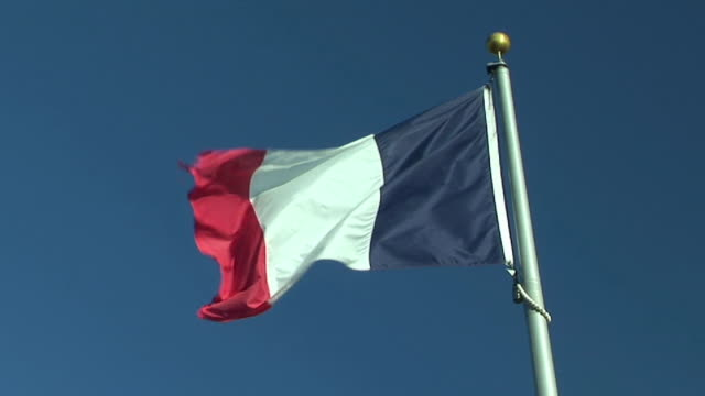 ms, la, french flag flapping against clear sky - french flag stock videos and b-roll footage