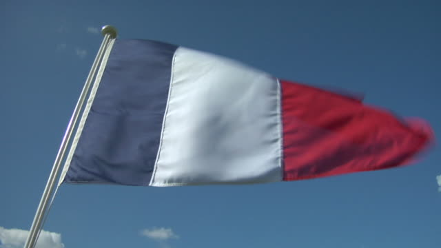 cu, la, french flag flapping against sky - french flag stock videos & royalty-free footage
