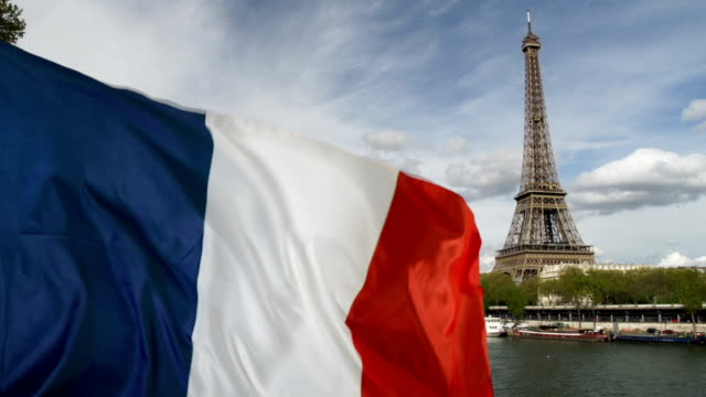 French Flag flying in front of The Eiffel Tower, Paris - Real footage, not CGI (France)