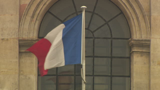 french flag flying outside institut de france - french flag stock videos & royalty-free footage