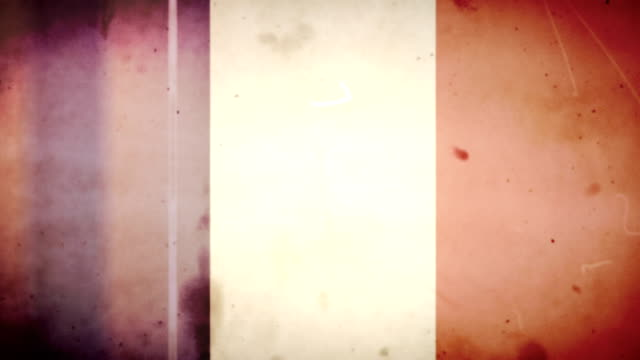 french flag - grungy retro old film loop with audio - french culture stock videos & royalty-free footage