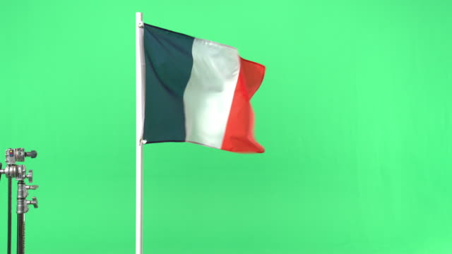 French flag on green screen