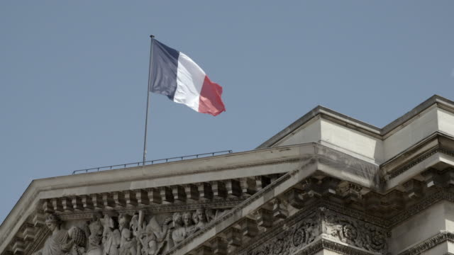 french flag on pantheon in paris - french flag stock videos & royalty-free footage
