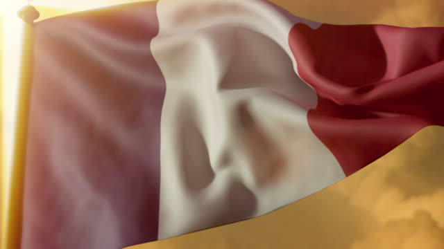 cgi la cu french flag waving against a dramatic golden sky - french flag stock videos & royalty-free footage