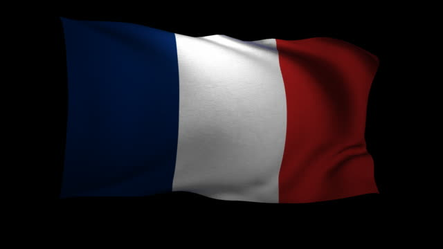 cgi french flag waving against black background - french flag stock videos & royalty-free footage