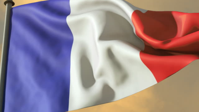 cu, french flag waving against cloudy sky - french flag stock videos & royalty-free footage