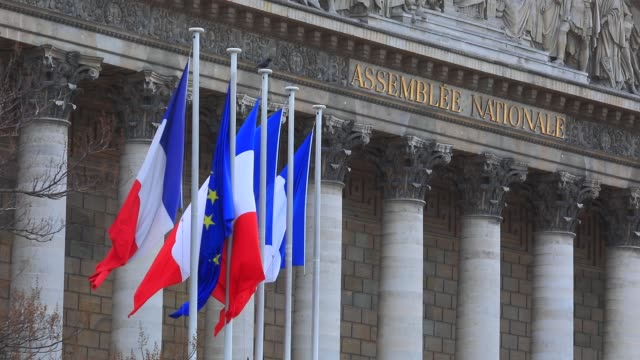 french flags next to french national parliament building on march 6, 2020 in paris, france. - 憲法点の映像素材/bロール