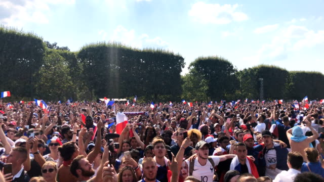 french football fans celebrate in the champs-de-mars fan zone as france score their first goal against croatia in the fifa 2018 world cup final match... - fan enthusiast stock videos & royalty-free footage