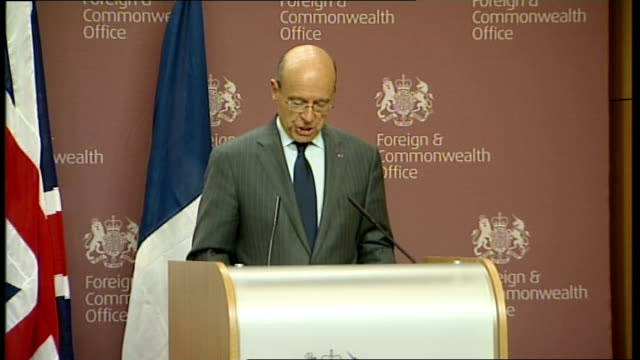 French Foreign Minister Alain Juppe visits UK for talks Press conference Alain Juppe press conference SOT