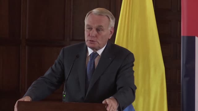 french foreign minister jean marc ayrault condemns the assassination of russia's ambassador to turkey andrei karlov who was shot dead by a turkish... - assassination of andrei karlov stock videos & royalty-free footage