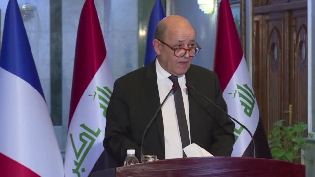 French Foreign Minister Jean Yves Le Drian meets with his Iraqi counterpart Mohammed Al Hakim in Baghdad and then travels to Arbil the capital of...
