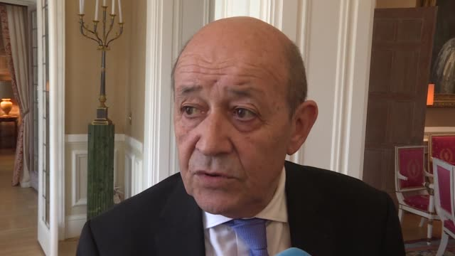 French Foreign Minister Jean Yves Le Drian responds after Syrian President Bashar al Assad's accused France of backing terrorism