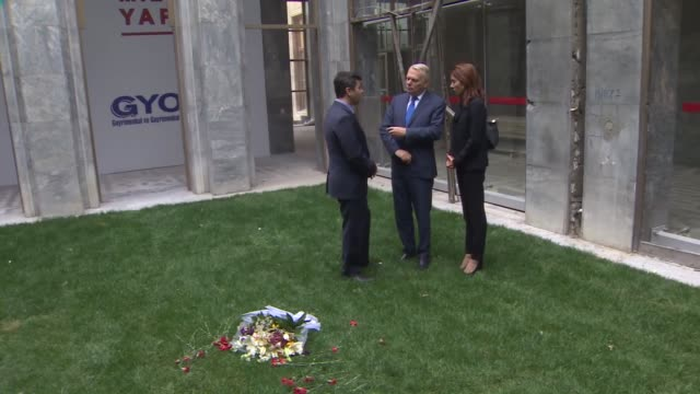 French Foreign Minister JeanMarc Ayrault visits the Grand National Assembly of Turkey which was bombed during the Fetullah Terrorist Organization's...