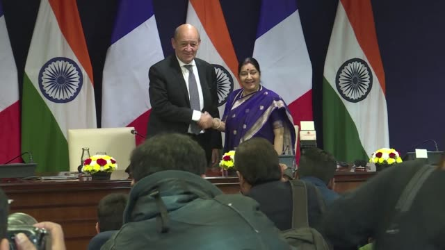 french foreign minister jeanyves le drian addresses the media after holding talks with his indian counterpart sushma swaraj during a two day long... - nackenrolle kopfkissen stock-videos und b-roll-filmmaterial