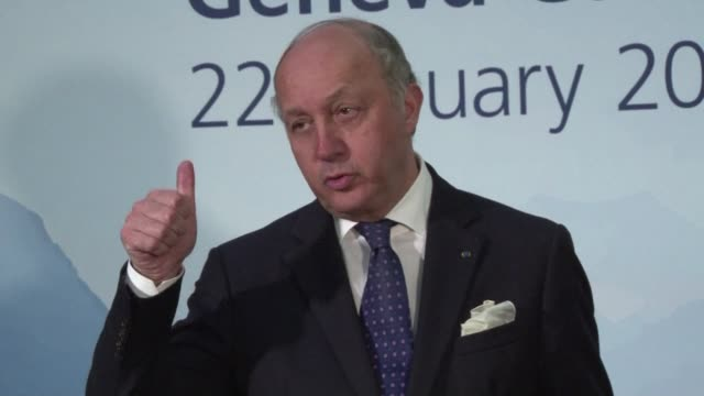 french foreign minister laurent fabius hit back at the syrian regime wednesday saying the international peace talks are aimed at finding a transition... - montreux stock videos & royalty-free footage
