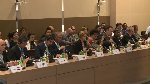 french foreign minister laurent fabius meets with 40 ministers to discuss upcoming un climate talks calling for the pact to be both ambitious and... - agreement stock videos & royalty-free footage