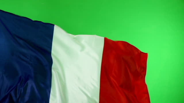 French France Flag on green screen, not CGI, Super Slow Motion