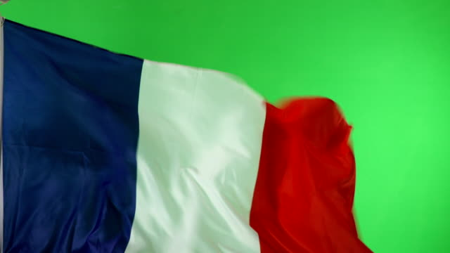 4K: French France Flag on green screen, Real video, not CGI