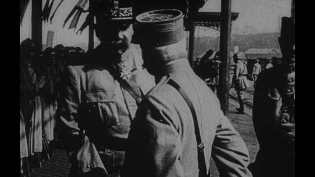 french gen etienne pelletier talking with aide at train station - john pershing stock videos & royalty-free footage