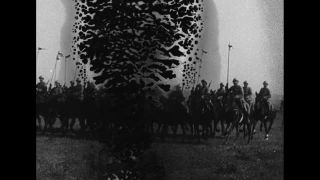 french general adolphe guillaumat sitting horseback as he reviews greek division marching in field / cavalry galloping, flags being held up /... - greece stock videos & royalty-free footage