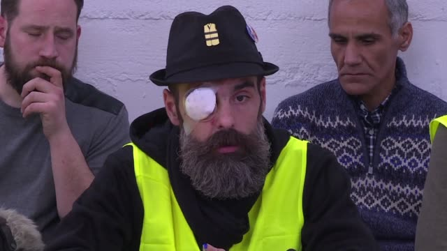 French gilet jaunes figures including Jerome Rodrigues who received an eye injury allegedly caused by a rubber projectile fired by the police slam...