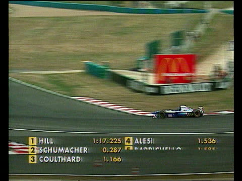 French Grand prix FRANCE MagnyCours MS Damon Hill car towards LTS Ditto PA RL as past in practice session MS Ditto towards LMS Michael Schumacher...