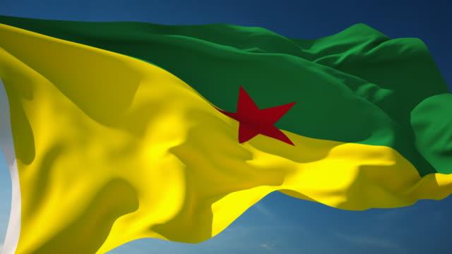 stockvideo's en b-roll-footage met 4k frans guyana flag - loopbare - french overseas territory
