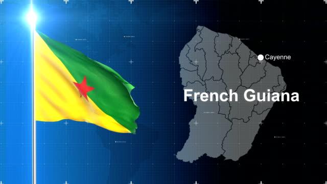 vidéos et rushes de drapeau français guiana - carte dom tom
