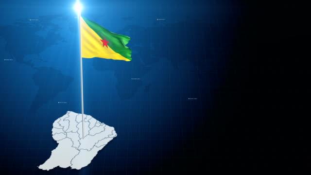vidéos et rushes de drapeau français guiana avec carte - carte dom tom