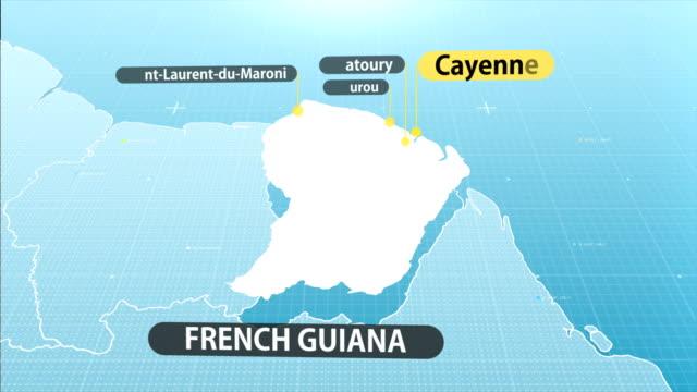 vídeos y material grabado en eventos de stock de mapa de guayana francesa - territorios franceses de ultramar