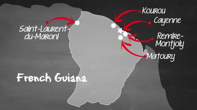 vidéos et rushes de carte de français guyane - carte dom tom