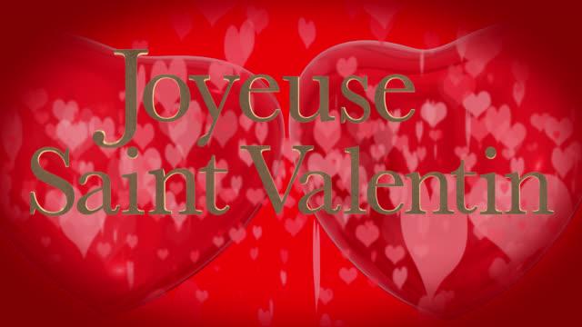 vídeos de stock, filmes e b-roll de frase do dia francês feliz dia dos namorados, joyeuse saint valentin com dois corações vermelhos 3d de espancamento e coração em movimento em forma de partículas são no fundo vermelho - símbolo conceitual