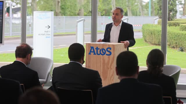 french information technology service and consulting company atos ceo elie girard speaks during a press conference at atos technology days 2021 on... - big data stock videos & royalty-free footage