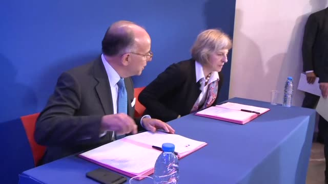 french interior minister bernard cazeneuve and his british counterpart theresa may signed a deal on thursday to set up a joint crisis centre aimed at... - bernard cazeneuve stock videos & royalty-free footage