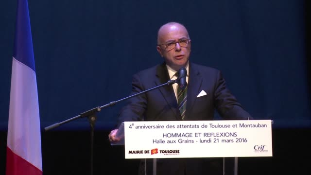 french interior minister bernard cazeneuve attends a service in memory of the victims of the toulouse shooting spree of four years ago - bernard cazeneuve stock videos & royalty-free footage