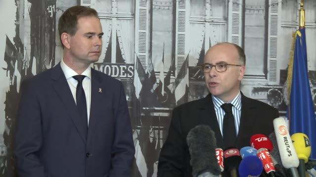 french interior minister bernard cazeneuve has expressed his solidarity with denmark during a joint press conference on sunday with nikolaj wammen... - bernard cazeneuve stock videos & royalty-free footage