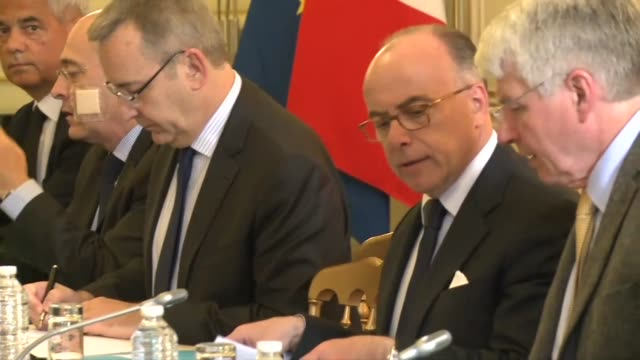 french interior minister bernard cazeneuve on tuesday met with representatives of police unions a day after the attack on a police commander who was... - bernard cazeneuve stock videos & royalty-free footage