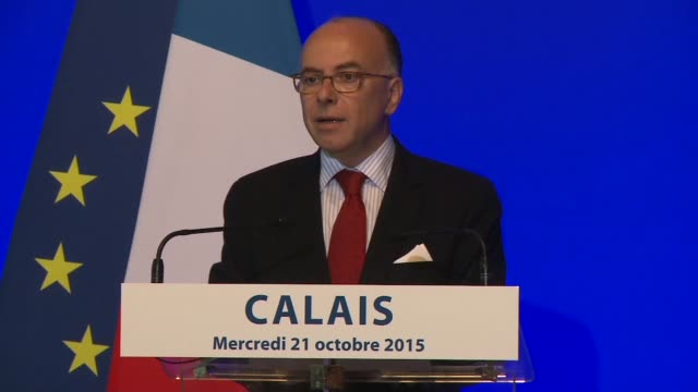 french interior minister bernard cazeneuve on wednesday announced plans to stregnthen the police force present in calais as well as create more units... - bernard cazeneuve stock videos & royalty-free footage
