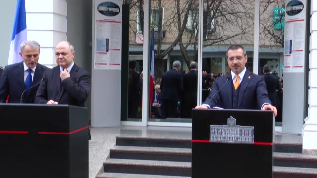 french interior minister bruno le roux meets albanian interior minister saimir tahiri in tirana albania on february 28 2017 the pair held joint press... - tirana stock videos & royalty-free footage