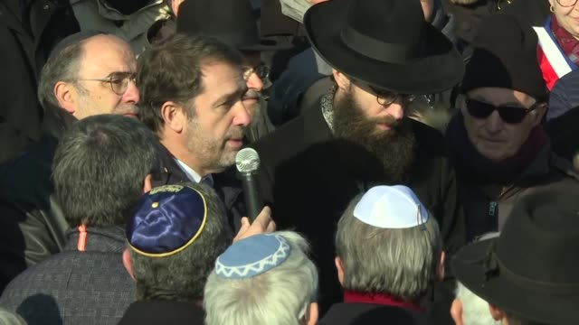 french interior minister christophe castaner condemns an act of hatred that desecrates all the republic after more than 100 graves were found covered... - cemetery stock videos & royalty-free footage