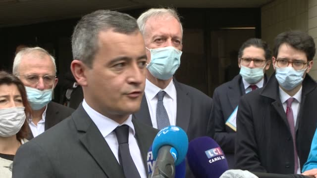 french interior minister gerald darmanin condemns an attack on two police officers who were shot and had their guns stolen while they were carrying... - government minister stock videos & royalty-free footage