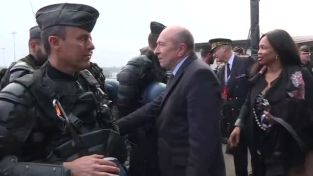 french interior minister gerard collomb inspects the security arrangements at the groupama stadium in lyon ahead of the europa league final that pits... - parc olympique lyonnais stock videos and b-roll footage