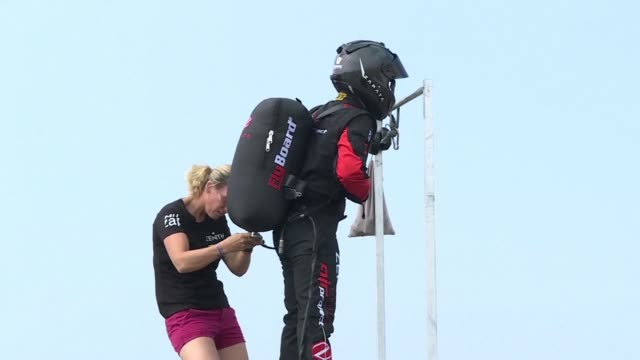 vídeos de stock, filmes e b-roll de french inventor franky zapata spoke to media ahead of his daring attempt to soar across the english channel on thursday on a jetpowered flyboard... - inventor