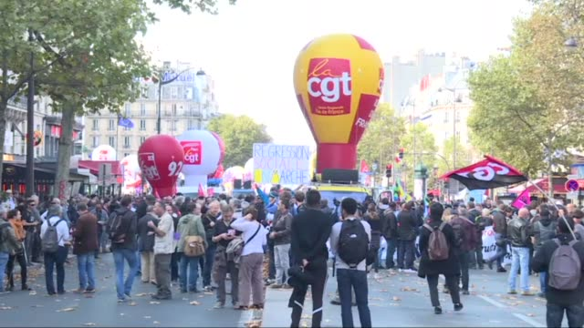 French labour unions gathered Thursday for a third day of demonstrations against French President Emmanuel Macron's labour reforms