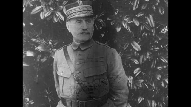 french marshal ferdinand foch poses against greenery / note film has nitrate deterioration - esercito militare francese video stock e b–roll