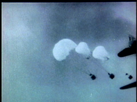 french military aircraft dropping paratroopers during the french indochina war / vietnam - 1954 stock videos & royalty-free footage