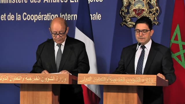 French Minister for Europe and Foreign Affairs JeanYves Le Drian and Foreign Affairs Minister of Morocco Nasser Bourita speak during a press...